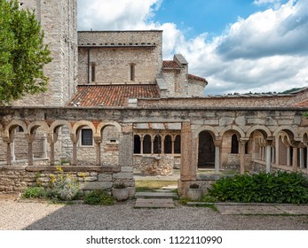 The colonnade of the cloister, dating back to the Christian period of the Pieve di San Giorgio di Valpolicella municipality of Sant'Ambrogio di Valpolicella, in the province of Verona. italy