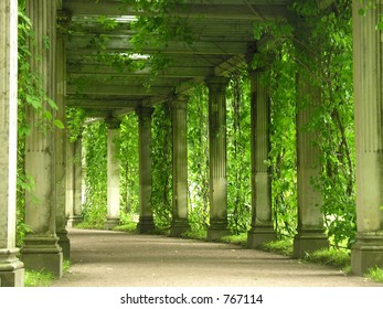 Colonnade with greens