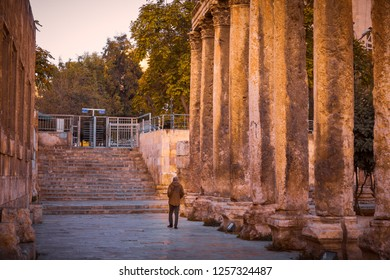 Colonnade in Hashemite Plaza, in front of the Roman Theater, Amman, Jordan