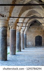 Colonnade at Khan Umdan,Caravanserai in Acre, Israel