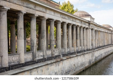 Colonnade pillars, museum island in Spree river, in Berlin Germany, low angle photo, wallpaper background.