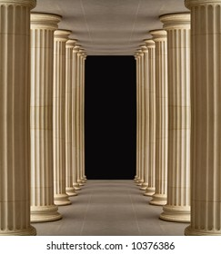 Colonnade of Pushkin Gallery,outdoor, Moscow.Black center for next design