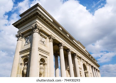 Colonnade Reistna, romantic classicist gloriette, The Lednice Valtice cultural landscape area, UNESCO heritage site in summer sunny day, Moravia, Czech Republic