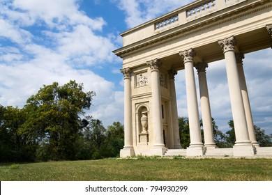 Colonnade Reistna, romantic classicist gloriette, The Lednice Valtice cultural landscape area, UNESCO heritage site in summer sunny day, Moravia, Czech Republic