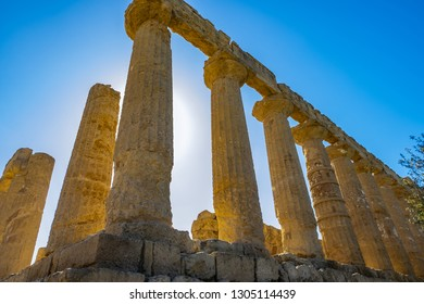 Colonnade of ruins Ancient greek Temple of Juno, old architecture Agrigento, Sicily