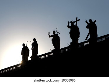 Colonnade of st. Peters cathedral  - silhouette