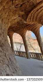 Colonnaded footpath in Park Guell in Barcelona