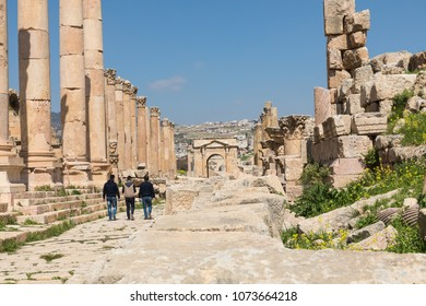 Colonnaded Street in Roman city of Gerasa near Jerash (Pompeii of the East. The city of 1000 columns). Northern Jordan