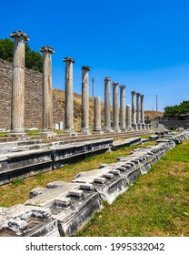 Colonnaded street of Roman forum at Asclepion Ancient City in Izmir Province, Turkey - Shutterstock ID 1995332042