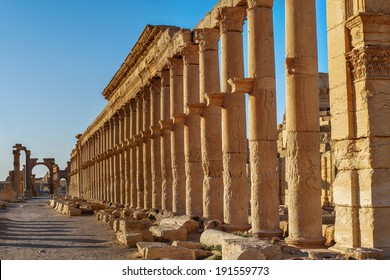 Colonnaded street at the site of Palmyra, Syria
