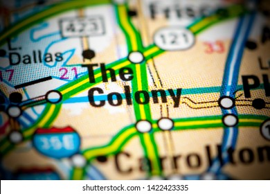 The Colony. Texas. USA on a map