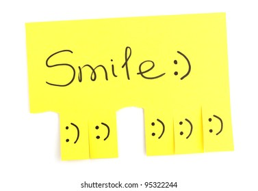 Color advertisement smile isolated on white