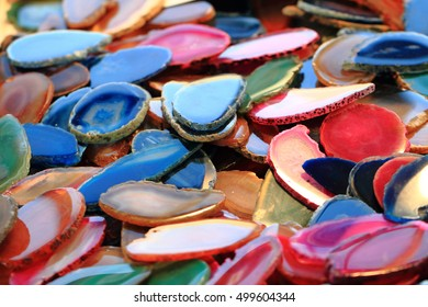 color agate mineral collection as nice natural background
