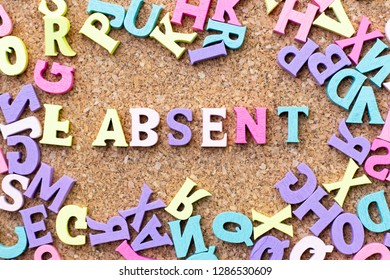Color alphabet in word absent with another letter as frame on cork board background