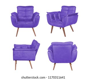 Color armchair. Modern designer chair on white background. Texture chair.
