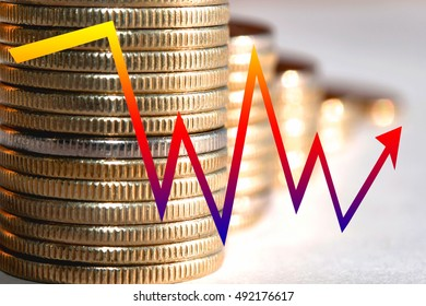 A color arrow - graph on a background of money . The concept of changing prices on the market