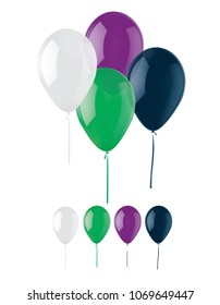 Color Balloons isolated on White. Realistic 3d illustration