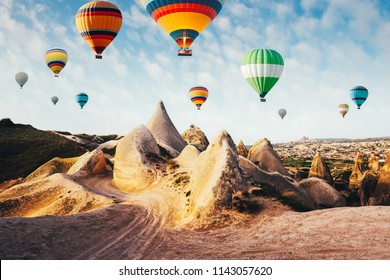 Color balloons in the sunrise sky. Cappadocia, Turkey