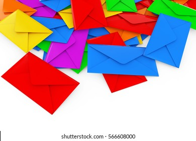 Color Blank Envelope Letters Heap on a white background. 3d Rendering