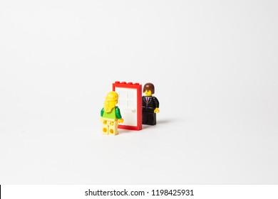 Color block and brick plastic constructor.
