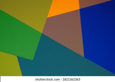 Color blocking background. Abstract geometric background.geometric pattern in orange, green and blue colors.stripes pattern.Paper Striped geometric background. paper  texture.