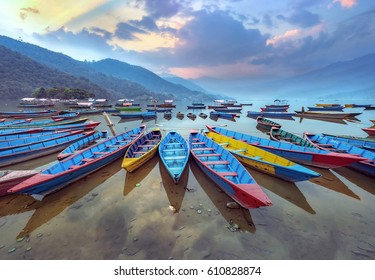 Color boat symbol of Phewa lake shore in Pokhara, Nepal.