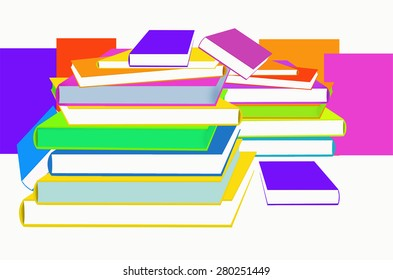 Color books on white background