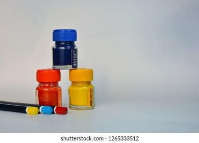 Color  bottles.primary colors   color pencils use skech