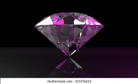 Color brilliant diamond on a black background