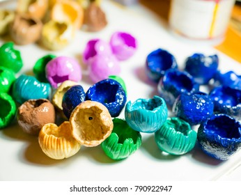 Color buds of polymer clay in the working place