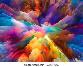 Color Burst series. Abstract design made of fractal paint and rich texture on the subject of imagination, creativity and art