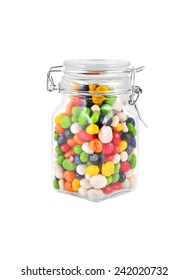 Color candy on glass jar, isolated on a white background