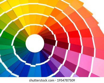 Color card palette, samples for colour definition. Guide of paint samples, colored catalog. Photo close up.