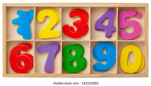 Color cards with numbers in a wooden box. Isolated on white background.