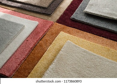 Color carpeting, samples of colored nap flooring without overlock. For stowage in a private scrap and apartment.