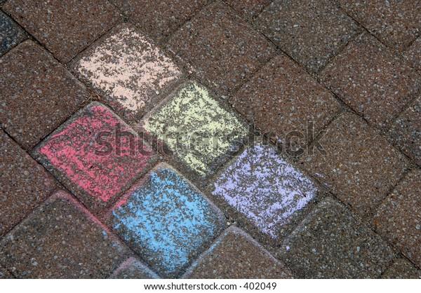 Color chalk on walkway