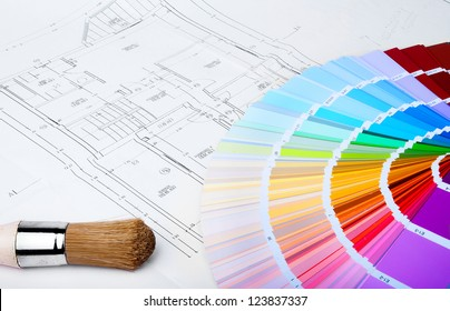 color chart and brush on the blue prints home Plans