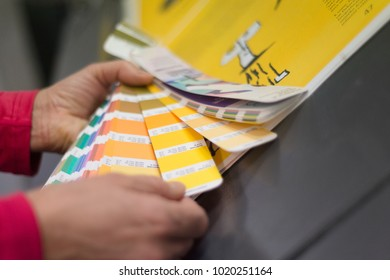 Color chart checking print reproduction color in workshop printing shop