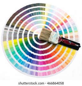 Color chart with paint brush