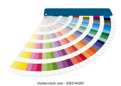 color chart to use in prepress and commercial printing isolated over white. Cyan, magenta and yellow are base color. tints and ink catalog for graphic arts. 3d render, 3d illustration