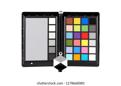 Color checker equipment of professional photographer, isolated on white background
