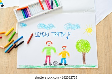 Color children drawing: father's day card with Polish words: Father's Day. Greeting card for Father's Day