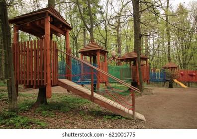 Color children playground in the open air.Truskavets.Ukraine