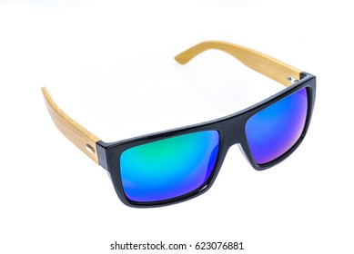 Color Children sunglasses, sun shades or spectacles isolated on white background. Color child or adoult men or woman glasses protection from sun and UV rays. Concept of sun protection and vacation.