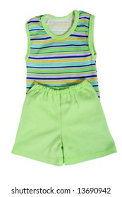 Color children's clothes on boys on a white background