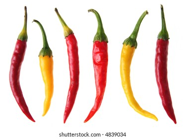 Color chili pepper set on white background