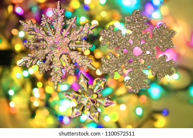 color christmas lights with decorative object as nice background
