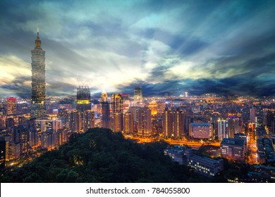 The Color cityscape with skyscraper and buildings under blue sky in night in Taipei Taiwan.