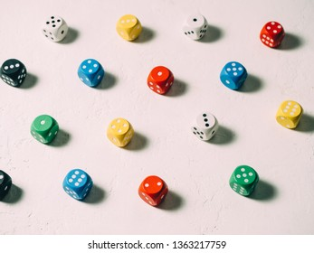 Color classic dices cubes. board game background.