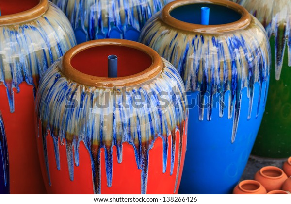 color clay jar.